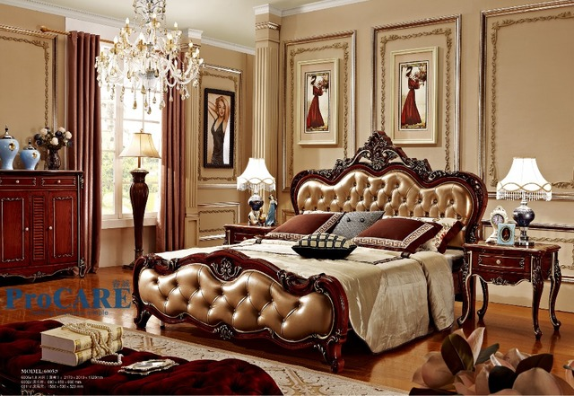 united kingdom style luxury solid rose wood bedroom furniture sets with 18m real leather bed