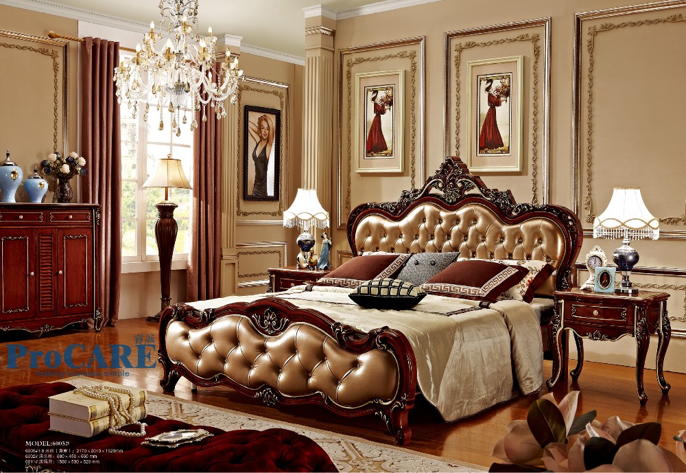 United Kingdom Style Luxury Solid Rose Wood Bedroom Furniture Sets With 1 8m Real Leather Bed Nightstand Bed End Stool 6005