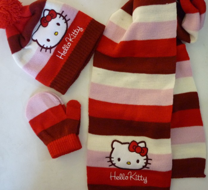 0adf4b5d0 Free Shipping Retail 1 set Red Stripe Baby Girl Hello Kitty scarf +cute  hat+gloves 3pcs set Sweet scarves Winter wear