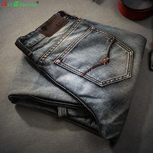 Famous Spring Summer Retro Nostalgia Straight Denim Jeans Men Plus Size 28-38 Casual Men Long Pants Trousers Brand Biker Jean