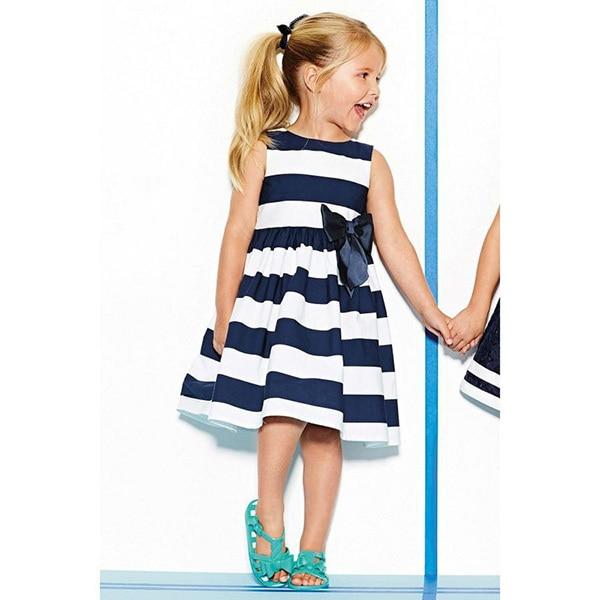 Смешанный хлопок Платье без рукавов для девочек и малышей Летнее платье-пачка в синюю полоску с бантом