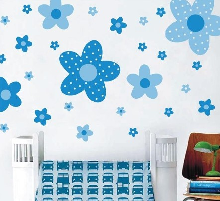 blue colour flower wall stickers pastoral style removable plastic ...
