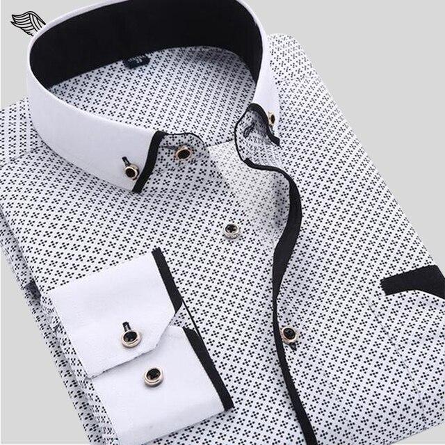 Мужская Рубашка 2017 Новая Мода Отпечатано Повседневная Марка Clothing Slim Fit С Длинными рукавами Хлопок Бизнес Мужчины Рубашки Плюс размер S-4XL N454