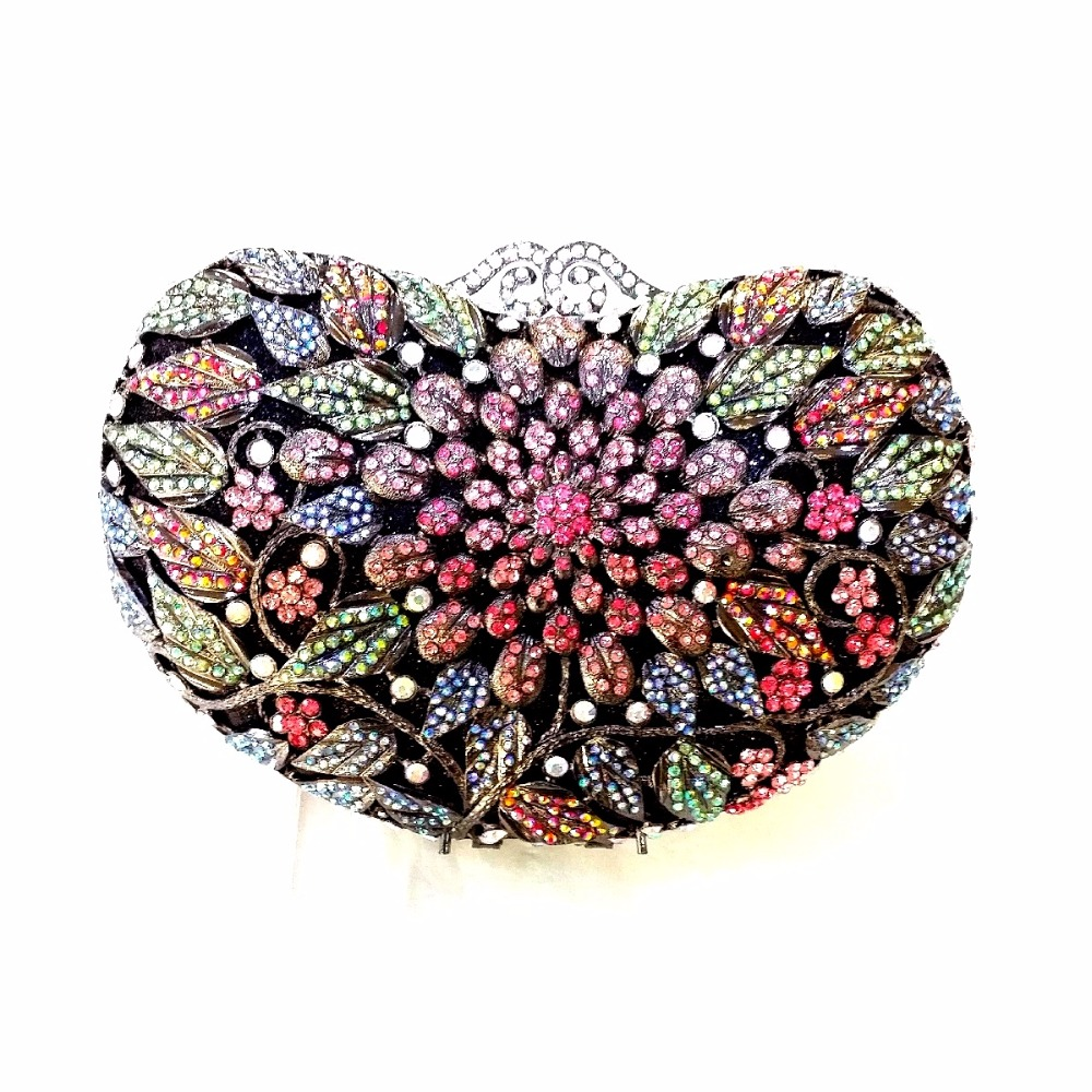 ФОТО 8359A Crystal Floral flower Wedding Bridal Party Night hollow Metal Evening purse clutch bag handbag box case