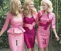 Três Estilos Rosa Quente Na Altura Do Joelho Mãe Dos Vestidos de Noiva com Jaqueta de Renda Moda 2015 Pant Ternos Elegantes HM199
