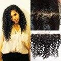 A Top de seda cabelo virgem brasileiro Base de rendas Frontal fechamento 13 x 4 cabelo humano onda encaracolado fechamento Natural preto