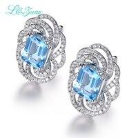Я и Цзуань 925 серебро Luxury swiss голубой топаз Клипсы для Для женщин квадратный камень Мода Интимные аксессуары diamond Ювелирные украшения