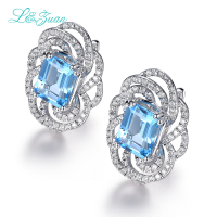 I&Zuan 925 Sterling Silver Luxury Swiss Blue Topaz Clip Earrings For Women Square Stone Fashion Accessories Diamond Fine Jewelry