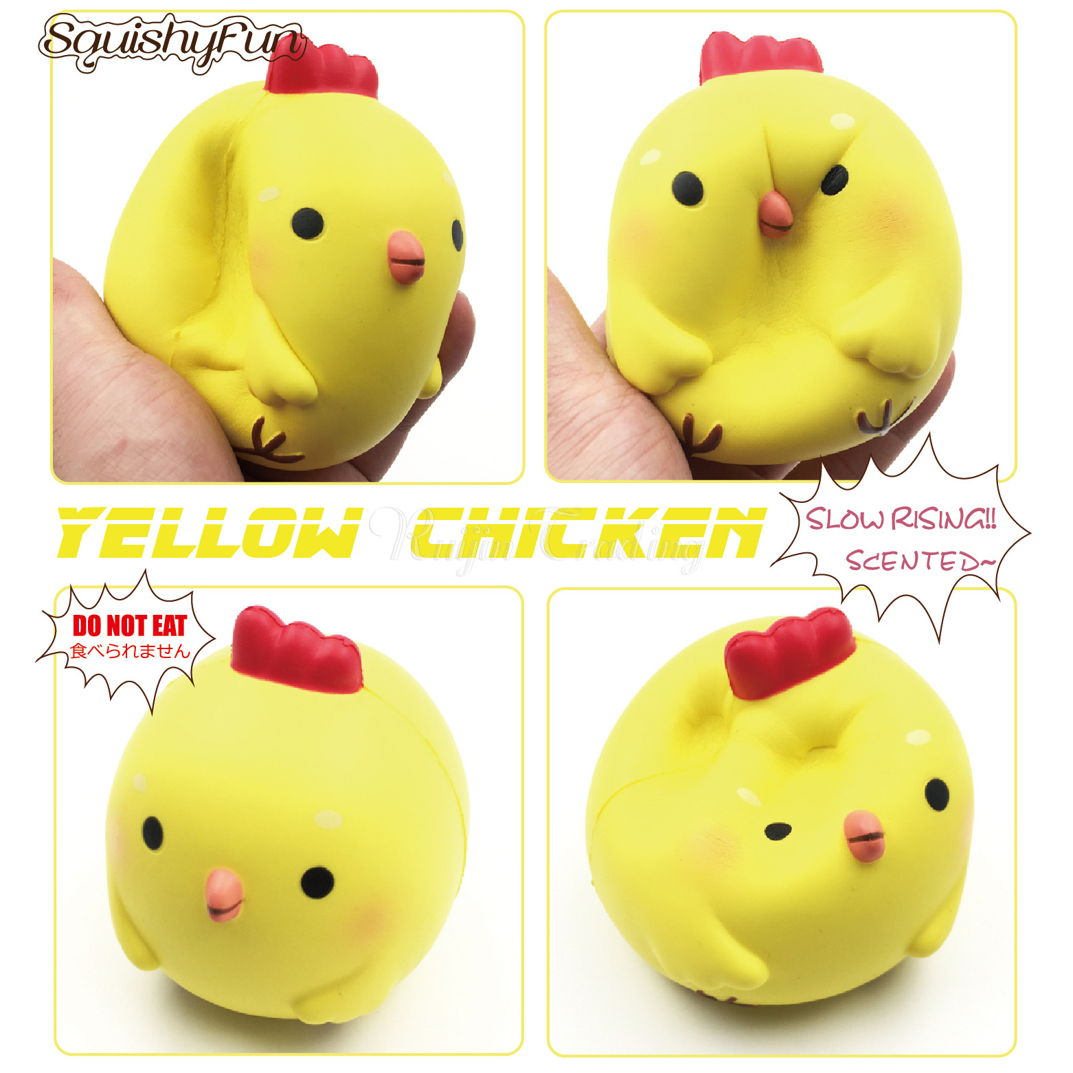 New Jumbo 10CM Chick Chicken Squishy Super Slow Rising Retail Packaging Phone Straps Squishy Scented Pendant Bread Kid Toy Gift