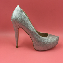 Silver Glitter Sequins Women Pumps Stiletto Heel Platform Pointed Toe Shoes Slip-On High Thin Cover Heels Sapato Femininos Pumps