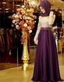 OMY006  2016 Muslim Evening Dresses A-line Long Sleeves Purple Embroidery Hijab Islamic Dubai Long Prom Dress