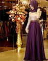 Omy006 2016 musulmán vestidos noche una línea púrpura de manga larga bordado Hijab islámico de Dubai vestido largo