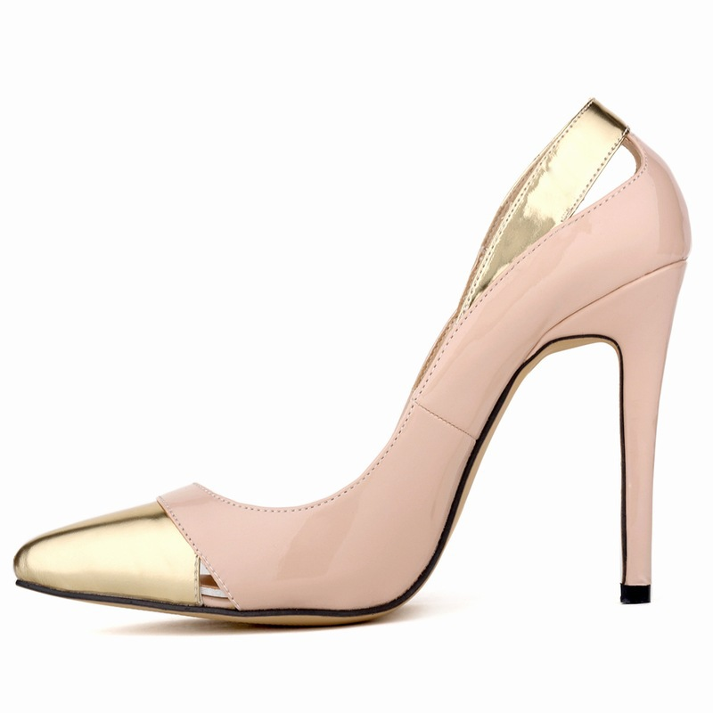 ФОТО New Style Fashion Women  Summer Pumps Mature Cut-Outs Patent Leather Gold Pointed Toe Stitching Color High Thin Heels Shoes
