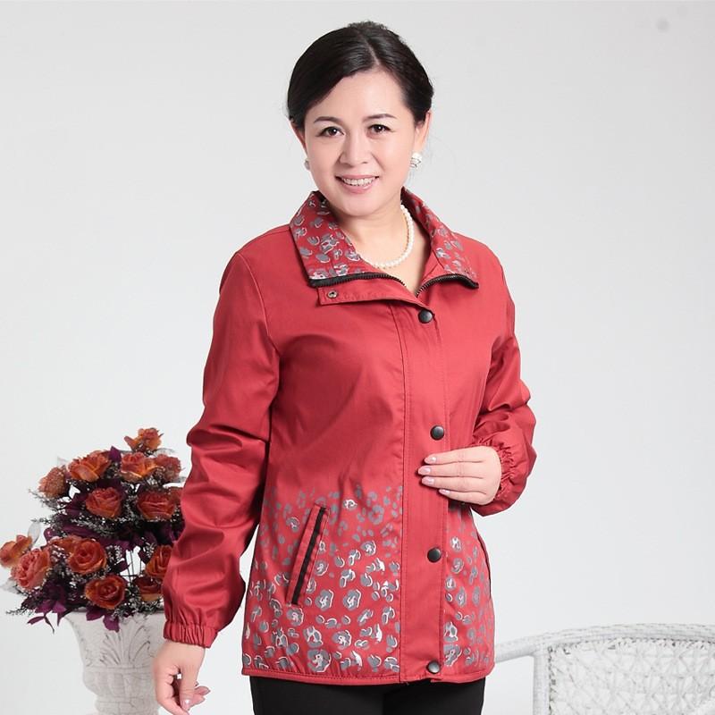 2016 весенняя мода пятидесятилетний печати женской куртки мать одежды среднего возраста женщин верхняя одежда одежда куртка-296854