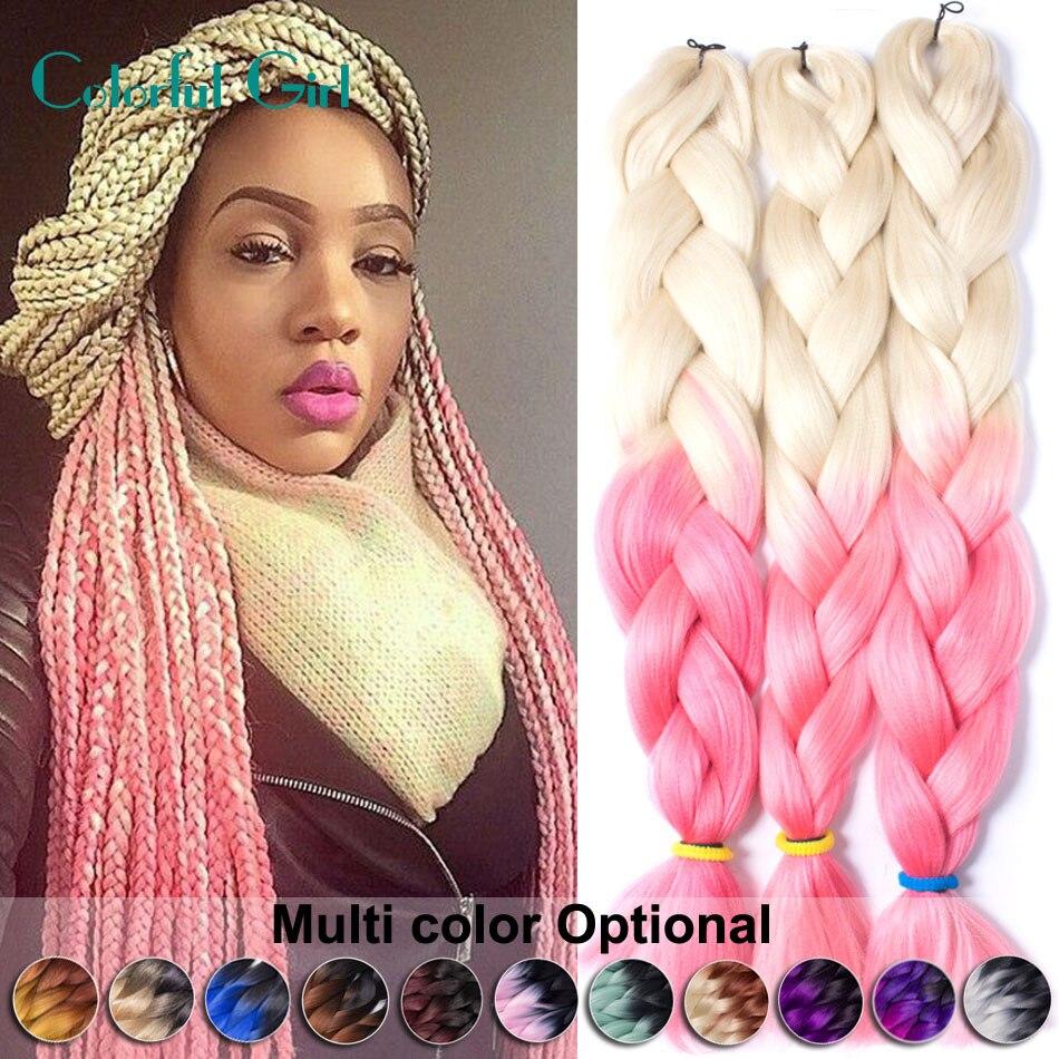 Crochet Braids Small : Crochet Braids Small 100G/Pc Kanekalon Braiding Hair 24Inch Two Tone ...