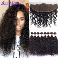 13x4 Ear to Ear Water wave Lace Frontal Closure with 3 bundles 8A Ali Moda Malaysian virgin hair Water wave human hair weave