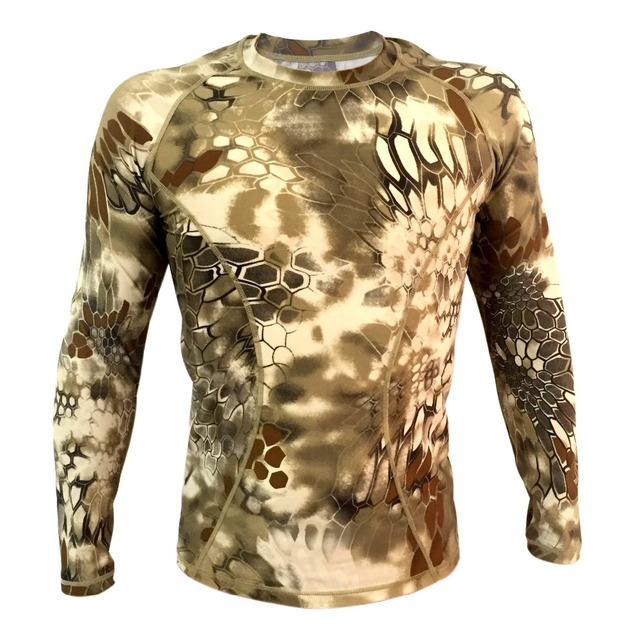 Highlander  Camo Long sleeve Tactical shirt Breathable Kryptek  tight compression Army shirt Summer T-shirt