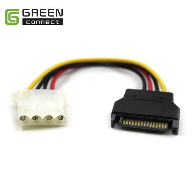 Greenconnect SATA 15pin male to 4pin Molex female power cable adapter