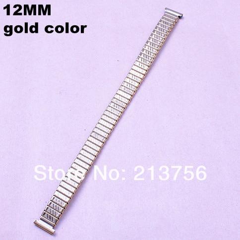10 шт./лот Высокое качество 12 мм золото цвет из нержавеющей стали часы полосы Эластичные часы ремешок-05138