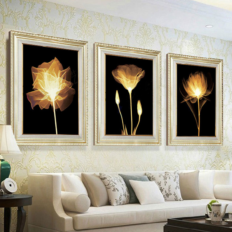 Bricolage 5D diamant peinture autocollant point de croix collant diamant broderie salon chambre montrer Triple photo livraison gratuite