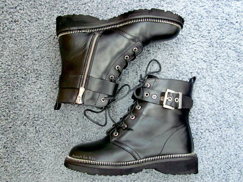 Женские ботинки в байкерском стиле с Алиэкспресс