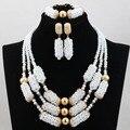 2017 Nuevo Blanco Beads Africanos Conjunto de Joyas de Cristal Árabe Dubai Boda Declaración Chapado en Oro del Collar Envío Gratis WD048
