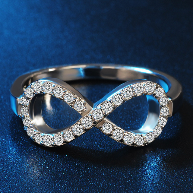 Fashion 925 sterling zilver sterling-silver-jewelry cz Infinity Endless Love claddagh 8 shape Rings For Women JZ31 anel feminino
