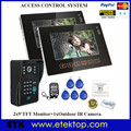 2016 2Pcs 9 Inch Big Color Monitors Night Vision Doorbell IR Camera Video Doorphone High Resolution High Definition RFID Reader