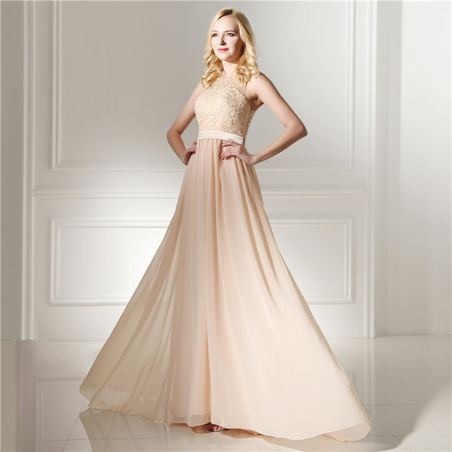 a7b8bfcf37be Real Models Nude Pink Elegant Chiffon With Lace Sheer Back Prom Dresses  Evening Party Women Gown