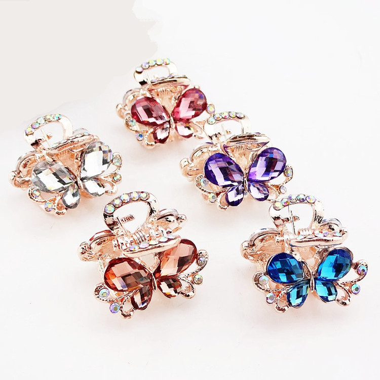 5pcs Hair Ornaments Rhinestone claw clip Headwear Accessories Crystal Metal Hair Claw Clip for women Jewelry Crab claw hair clip women headwear gift rhinestone hair claw butterfly flower hair clip 5 5cm long middle size bow hair accessories for girls