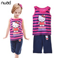3 Style Lovely Children Hello Kitty Pajamas Set Summer Sleeveless Kids Character Clothing Sets For Boy Girls pijama menino CF225