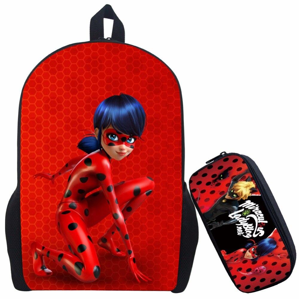 17 Inch Mochilas Infantil Miraculous Ladybug School Backpack For Teenage Cat Noir Children School Bag with Pencil Bag цена 2016