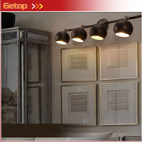 ZX Industrial Retro Iron LED Mirror Wall Lamp 4 Heads DIY Spotlight For Clothing Store Corridor