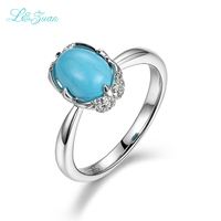 I&zuan 925 Sterling Silver Jewelry 100% Natural Oval Turquoise Blue Stone Party Rings For Women Fine Jewelry Wedding Bands 2089