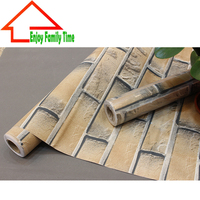 Free Shipping Antique Brick Self Adhesive Wallpaper For Livingroom PVC Waterproof Papier Peint Mural New 60cm