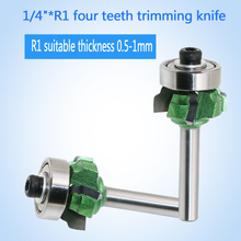 """1/4""""*R1 four teeth trimming knife woodworking milling cutter with bearing wood router(China (Mainland))"""