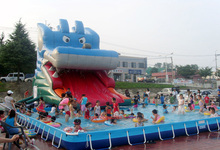 2016 commericial giant PVC inflatable slide with large pool for entertainment from shanghai factory