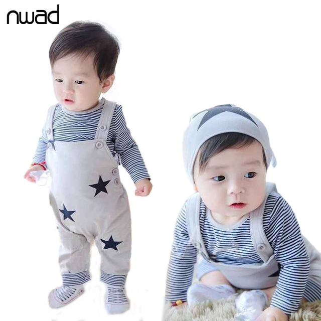Baby Girl Boy Clothes Set 2017 Striped Stars Printing Clothing Suit For Baby Kids Long Sleeve T Shirt +Suspender Pant FF031
