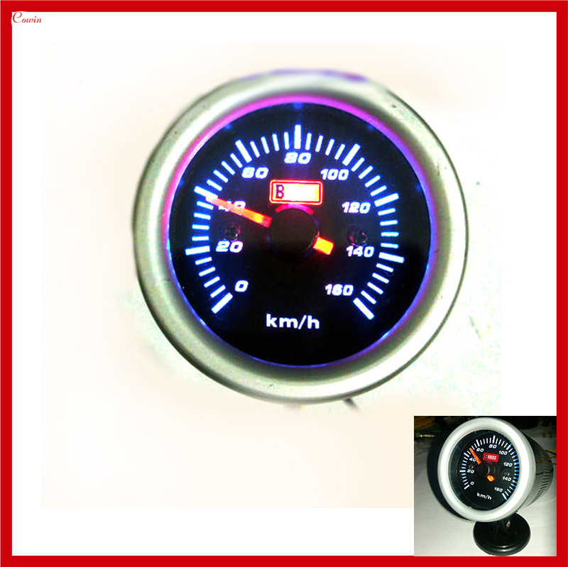 KSTE Motorcycle LED Tachometer Speed Meter 12V Universal Autocycle Accessory Copper