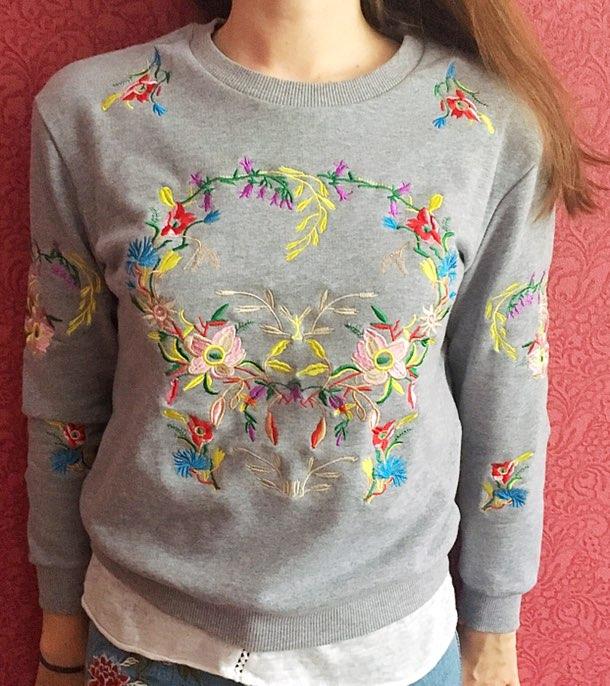 Свитшот с цветочной вышивкой с Алиэкспресс