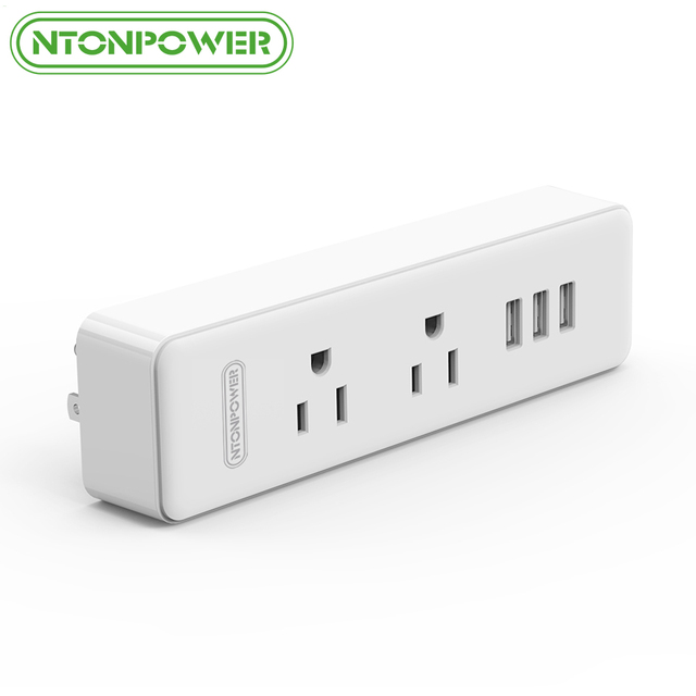 Nton Fireproof Usb Wall Mount Strip Us Plug Socket 2 Ac Outlets With 3 Charging Port For Travel Hotel Home