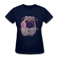 New Design Popular Pug Dog Women T Shirt Simple Style O Neck Cheap Wholesale Short Sleeve