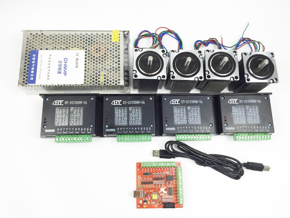 CNC mach3 USB 4 Axis Kit, 4pcs TB6600 driver+ mach3 USB stepper motor controller board+ 4pcs nema23 stepper motor +power supply free shipping high quality 4 axis tb6560 cnc stepper motor driver controller board 12 36v 1 5 3a mach3 cnc 12