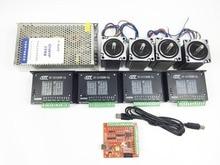 CNC mach3 USB 4 Cnc-5-achsen-kit, 4 stücke TB6600 fahrer + mach3 USB schrittmotor controller board + 4 stücke nema23 schrittmotor + netzteil