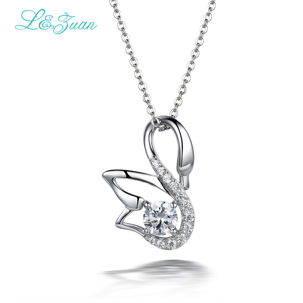 &zuan Sterling Silver Jewelry Necklace 1.1ct Swan Trendy White Stone Pendant Necklace 925 Sterling Silver