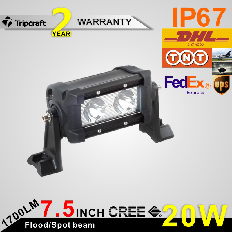 2016 Newest 20W single row CRE E LED light bar, super bright LED work light offroad driving light