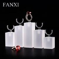 FANXI Frete grátis Personalizado China 6 set/lote loja e loja de jóias show case fosco fosco acrílico anel display stand set