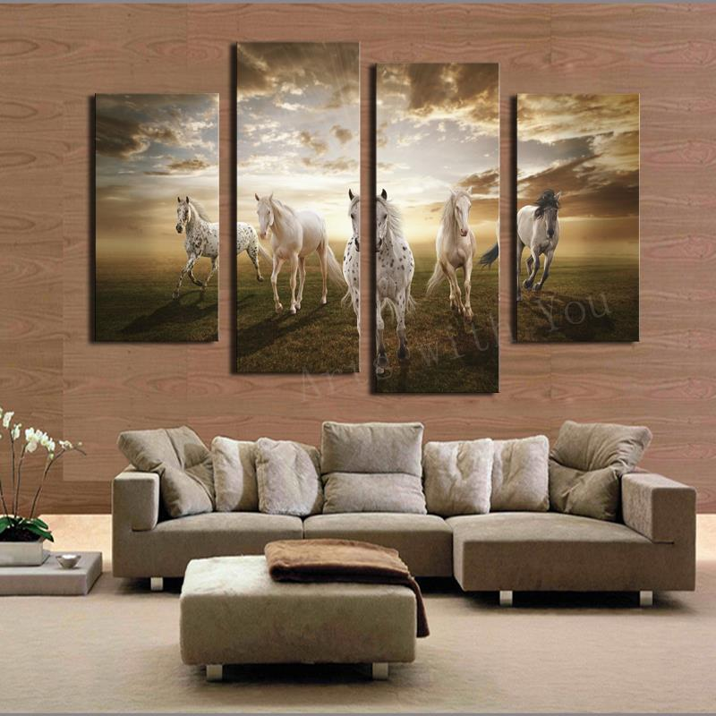Hot Sell 4 panel Running Horse Large HD Decorative Art