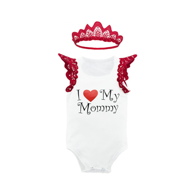 1a1e221b396 Girl Dress I Love My Mommy Romper Baby Girls Cotton Tutu Dress with Lace  Headband Baby Shower Gifts Newborn Baby Girl Clothes