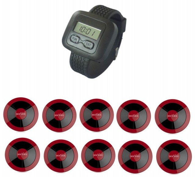 Free shipping! Restaurant wireless service calling system, watch pager, single key call button, table call bell, waiter call